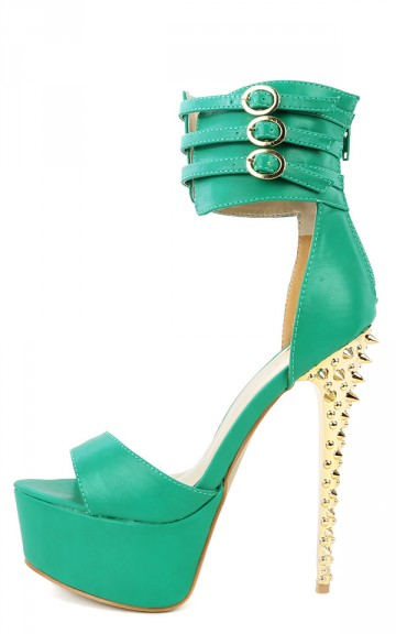 Dior-01 Green Ankle Cuff Spike Platform Heels-MakeMeChic.com