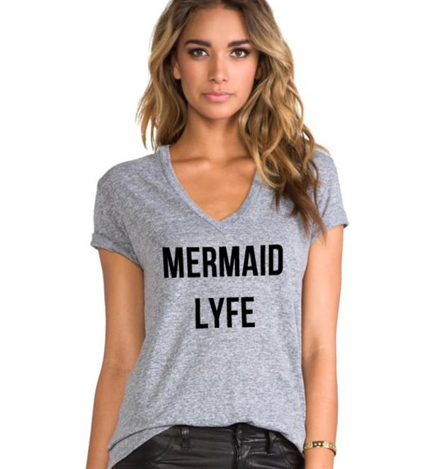 t-shirt mermaid life mermaid mermaid shirt graphic tee slogan tee v neck v neck graphic tee graphic tee american apparel womens fashion fall outfits cute dress