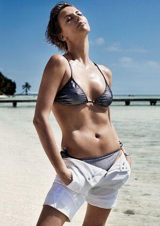 swimwear metallic swimsuit metallic bikini bikini bikini top bikini bottoms metallic shorts white shorts