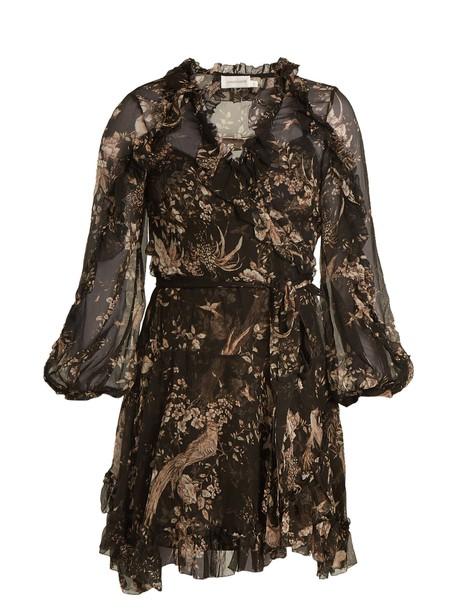 Zimmermann dress wrap dress floral print silk black