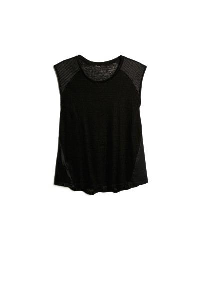panel linen t-shirt