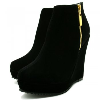 Heel Suede Style Zip Platform Ankle Boots Shoes - Black - from Spy ...