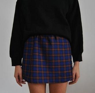 skirt mini skirt blue and orange check print tartan blue and orange skirt plaid skirt