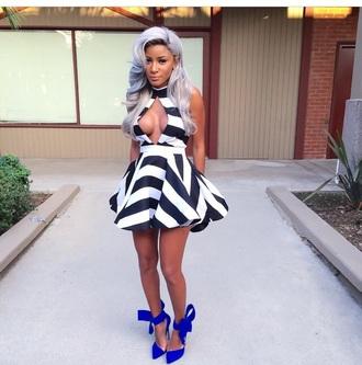 dress shoes high heels heels striped dress style turtleneck outfit peplum cardigan hair accessory