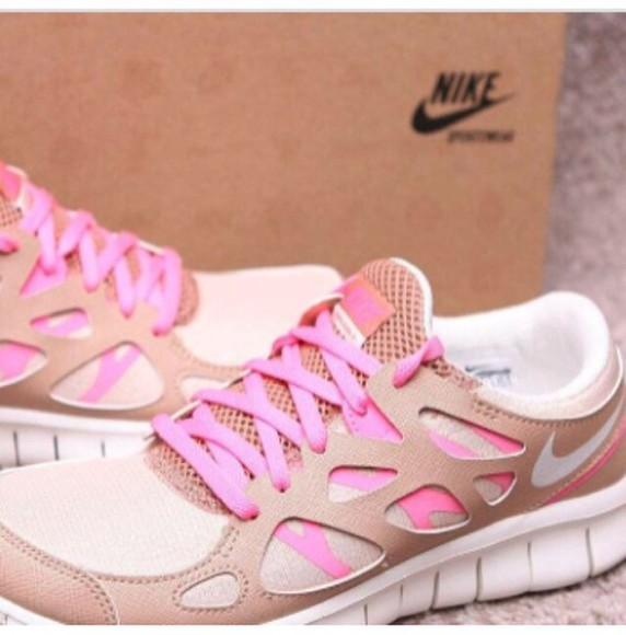 shoes nike nike running shoes nike free run pink beige