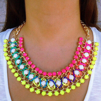 jewels necklace bright vibrant colorful gems layered yellow orange layered necklace statement necklace neon cool stylish gogolush