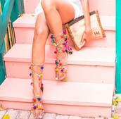 shoes,girly,girl,girly wishlist,sandals,tie up,pom poms,strappy sandals,multicolor,pom pom sandals