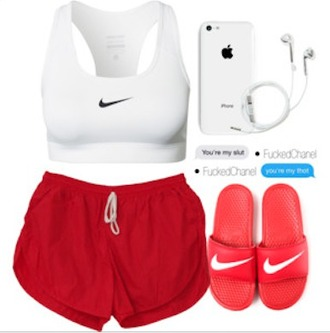 shorts red shorts jogging shorts runnign shorts gym shorts work out shorts nike shoes nikes nike sandals sandals nike clothes red and white iphone cute nike shorts nike sportswear red sports bra white sports bra top nike top gym clothes earphones summer outfits running clothes sports shorts