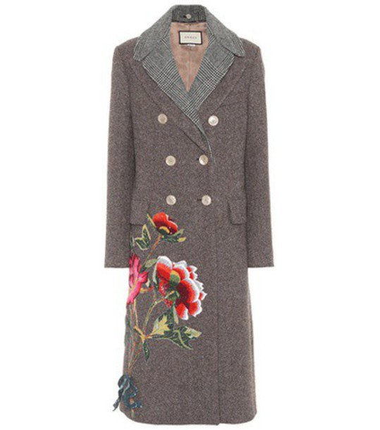 gucci coat wool coat embroidered wool brown