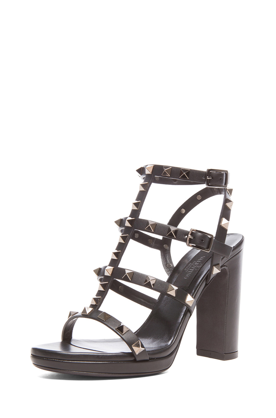Valentino|Noir Rockstud Leather Gladiator Heels T.95 in Ruthenium Black