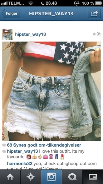 shorts usa america crop tops dip dyed tumblr american flag shirt
