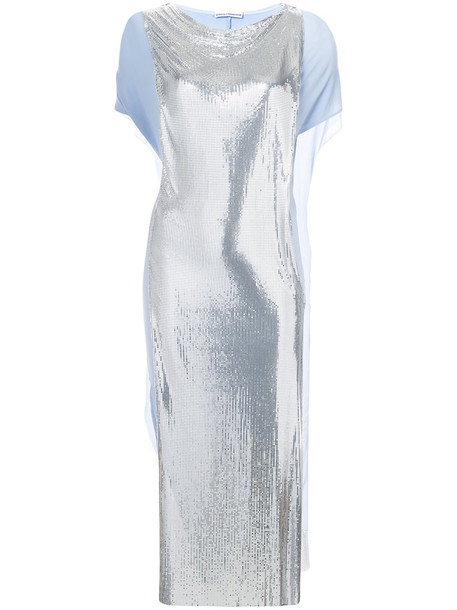 Paco Rabanne dress mesh women spandex grey metallic