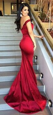 dress,red,black,off the shoulder,mermaid,evening outfits,formal,prom dress,red prom dress,satin dress,long prom dress,maxi dress,satin,open back dresses,trumpet mermaid prom dresses,sexy long evening dresses,prom,fishtail prom dress,beautiful prom dress,red dress,off the shoulder dress,fishtail dress,beautiful,beautiful red dress,prom dress!,red formal dress,red off shoulder