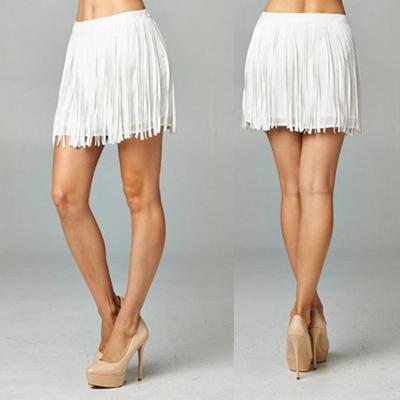 White leather fringe skirt · trendyish · online store powered by storenvy