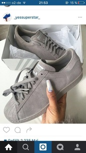 shoes,adidas,sneakers,grey,grey shoes,summer,cute,one coloured shoes,adidas shoes,adidas superstars,adidas originals,adidas supercolor,adidas grey sneakers,superstar,grey sneakers,summer outfits,summer shoes,sportswear,adidas gray,suede,low top sneakers