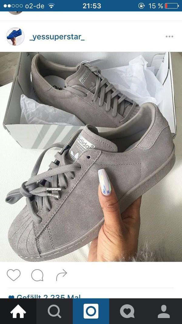 Adidas Superstar Womens Grey Suede