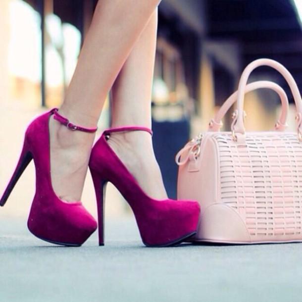 shoes purple heels pink shoes pink cute high heels heels hight heels bag fushia fushia shoes pink bag