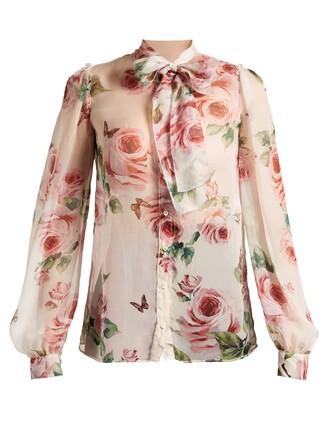 blouse chiffon blouse chiffon rose print white top