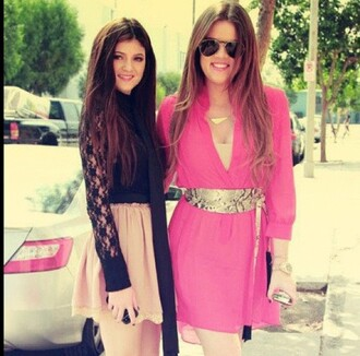 dress khloe kardashian pink dress long dress casual pink short dress kylie jenner dress