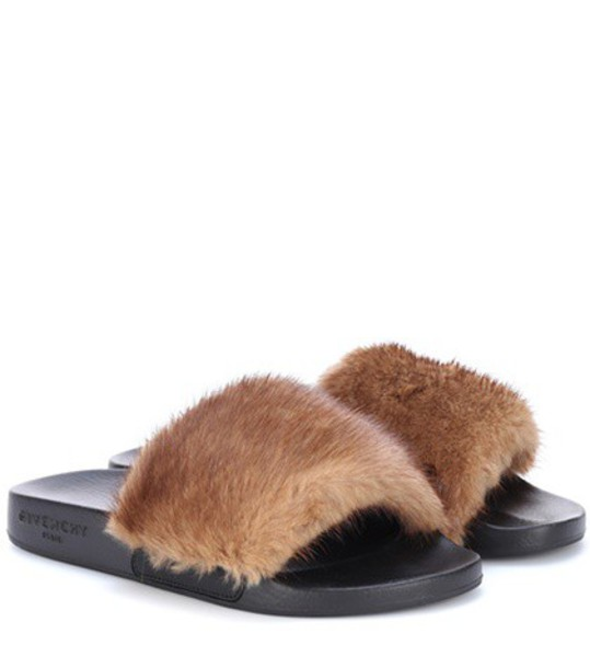 Givenchy Fur slides in brown