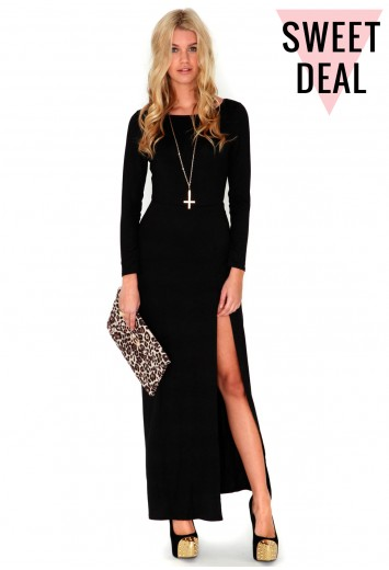 Larysa value long sleeve jersey maxi dress in black