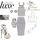 skirt,crop tops,pencil skirt,michael kors watch,strappy heels,statement necklace,handbag,earrings