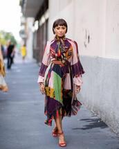 dress,multicolor,midi dress,mesh dress,ruffle dress,high neck,belt,sandals,earrings