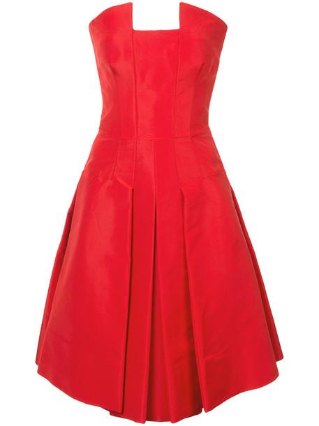 oscar de la renta dress strapless women silk red