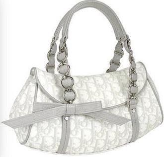 bag handbag grey handbag white handbag grey bow silver chain