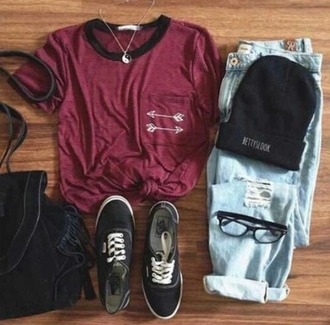 t-shirt shirt indie ripped jeans beanie vans yin yang necklace boho hippie hipster grunge outfit summer spring tumblr weheartit hat jeans shorts jumpsuit shoes