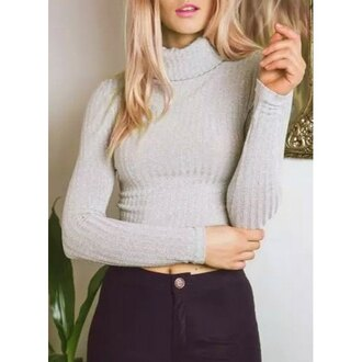 sweater grey casual knitwear winter outfits edgy rose wholesale winter sweater style gloves trendy long sleeves
