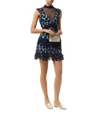 dress self portrait blue blue dress graduation dress lace dress