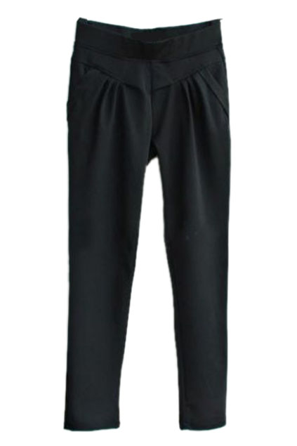 ROMWE | Pleated Black Harem Pants, The Latest Street Fashion