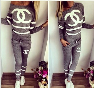 jumpsuit tracksuit chanel grey sexy white print pretty jacket pants sportswear sport suit suit trendy fashion hoodie hot hot pants
