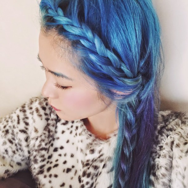 kawaiilabo blogger pastel hair blue braid hairstyles hair/makeup inspo prom beauty