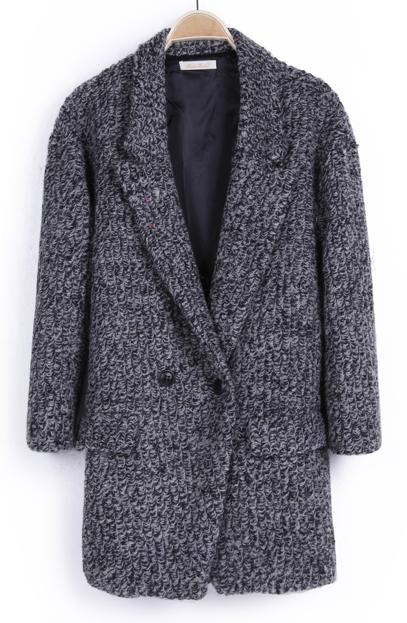 Light Grey Notch Lapel Buttons Pockets Coat - Sheinside.com