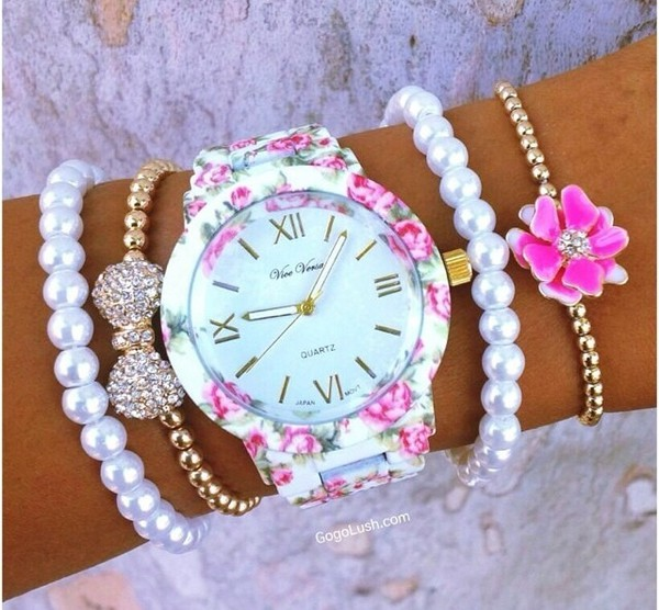 jewels watch flowers bracelets