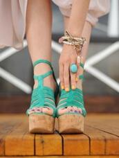 turquoise,wedges,shoes,leather,teal,strappy,cork,topshop