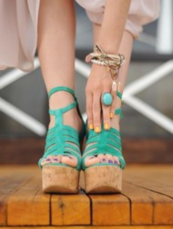 turquoise wedges shoes leather teal strappy cork topshop