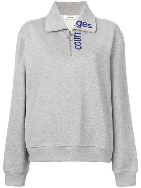 Courrèges - zipped logo sweatshirt - women - Cotton - 2, Grey, Cotton