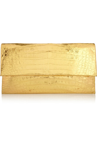 metallic clutch crocodile gold bag