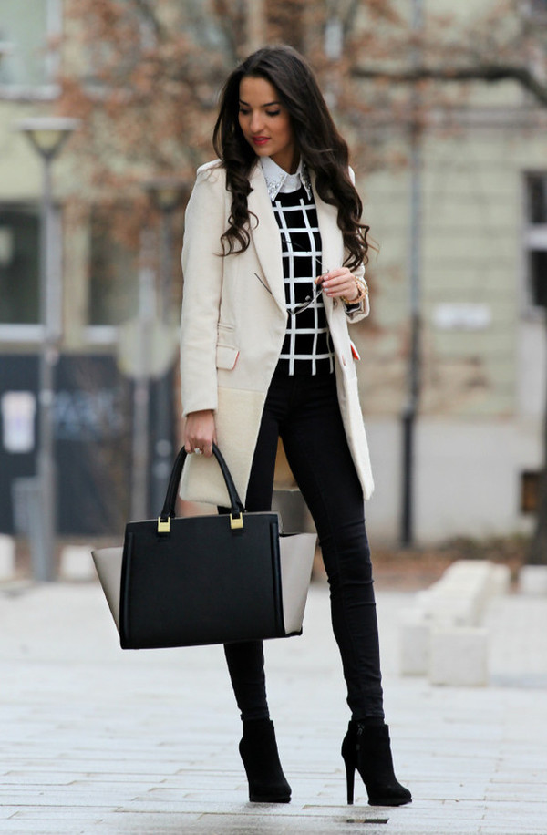 jeans jacket blouse bag sweater top shoes winter outfits coat winter coat smart