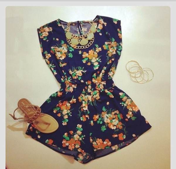shorts floral jumpersuit summer outfits romper blue colorful jumpsuit flowers summer dress
