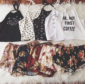 tank top grunge indie coffee summer shorts flowered shorts indie boho