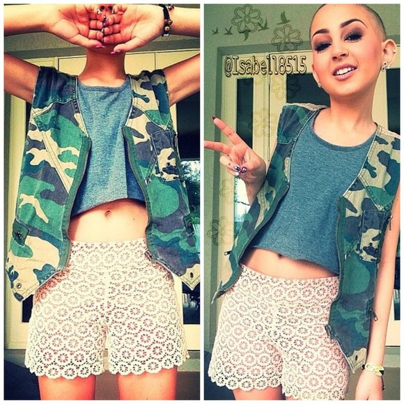 shirt grey top shorts grey crop tops talia taliajoy camouflage belly button jacket