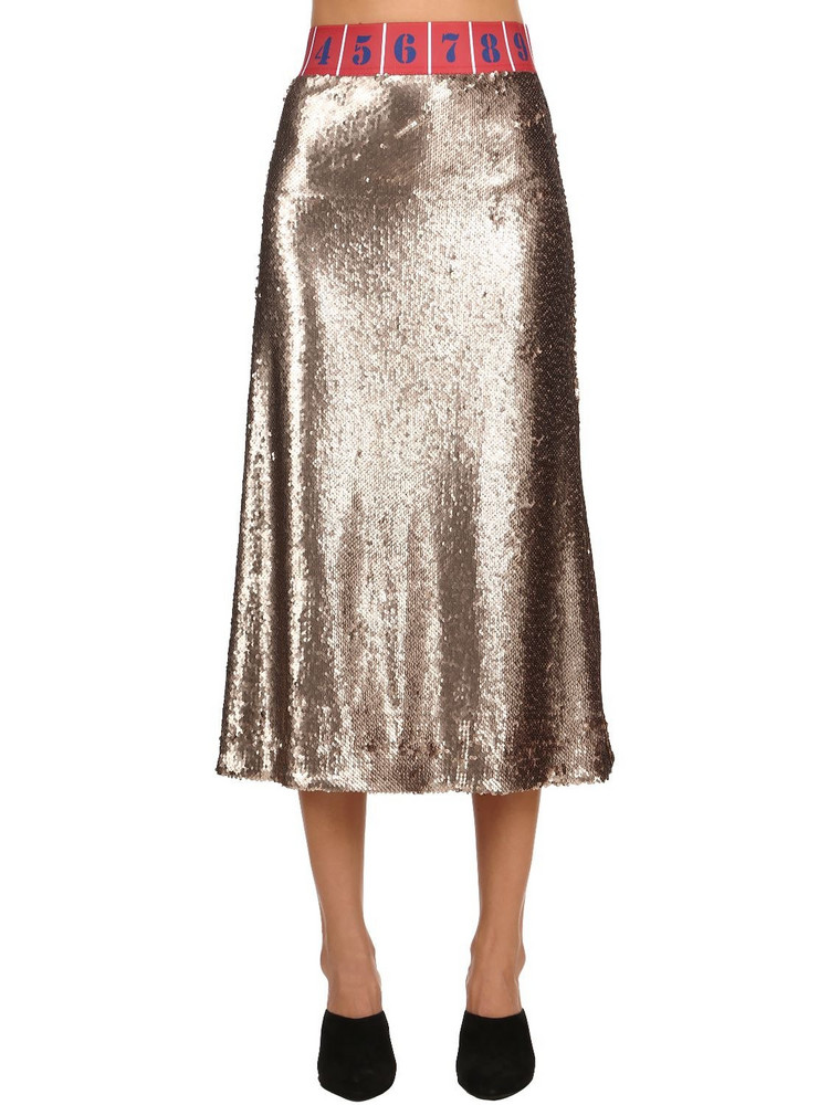 STELLA JEAN Sequined Stretch Midi Skirt in gold