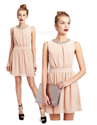 dress pearl pink beige rose bag chiffon cocktail dress