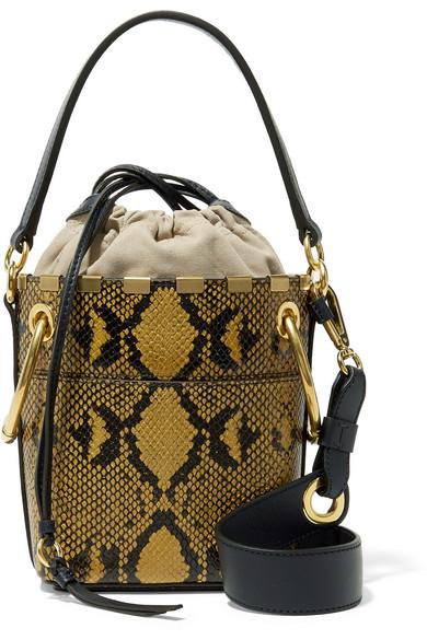 b794402a8 Chloé - Roy mini snake-effect leather bucket bag