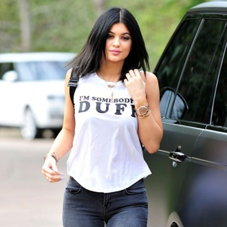 kylie jenner white t-shirt tank top t-shirt jewels