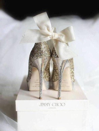 shoes gold glitter heels bow